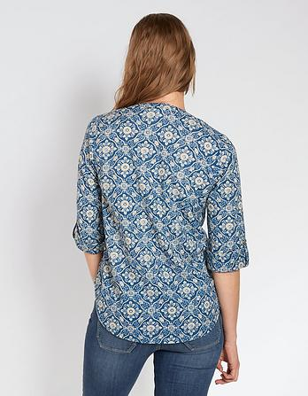 Organic Cotton Poppy Indigo Woodblock Popover