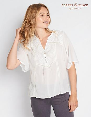 Keira Lace Notch Neck Blouse