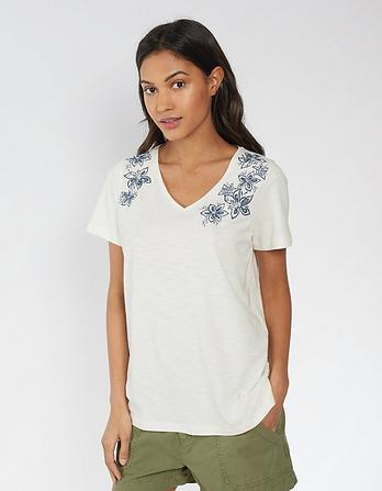 Kaye Star Flower Embroidered T-Shirt