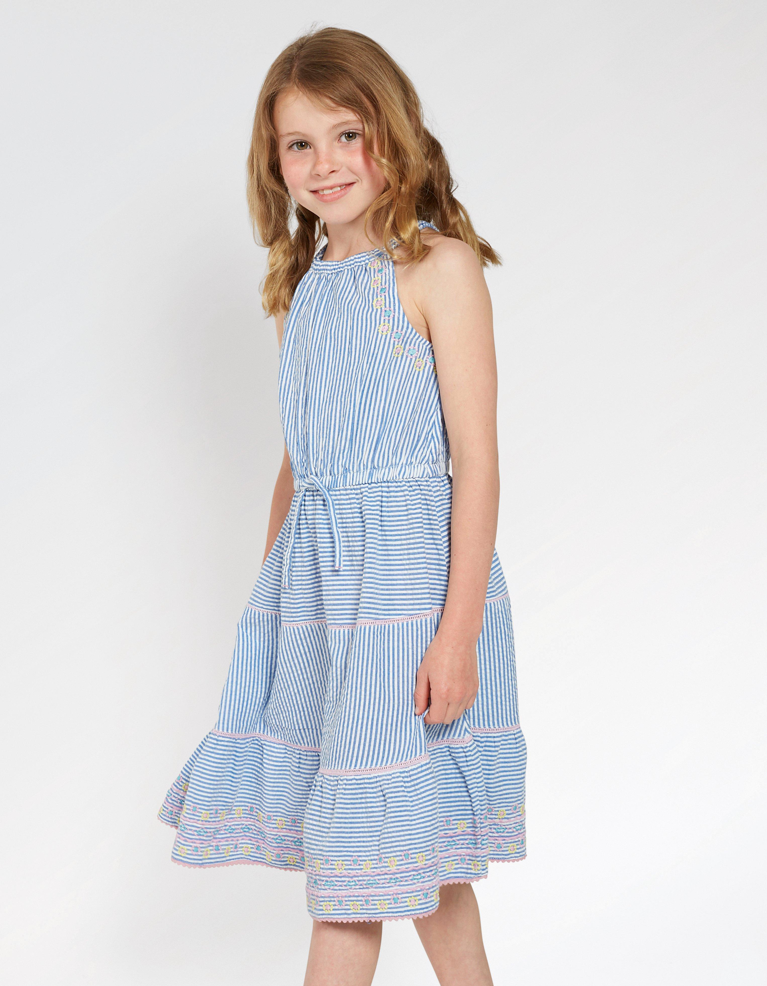 Edith Embroidered Stripe Dress