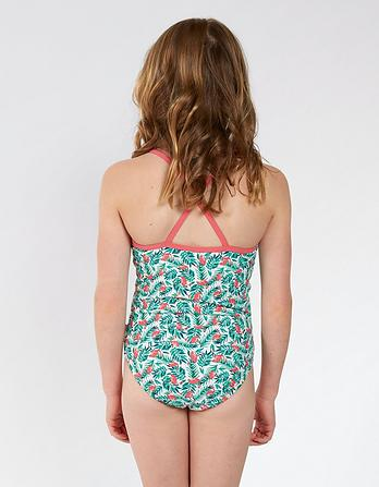 Flamingo Palm Print Swimsuit