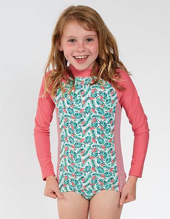 Flamingo Palm Print Rash Vest