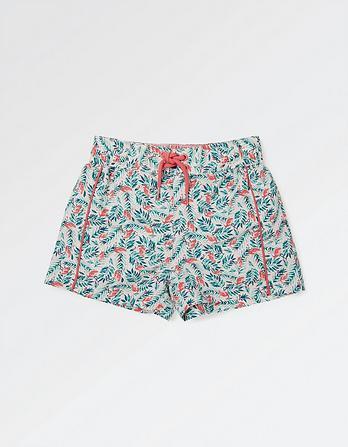 Flamingo Palm Print Board Shorts