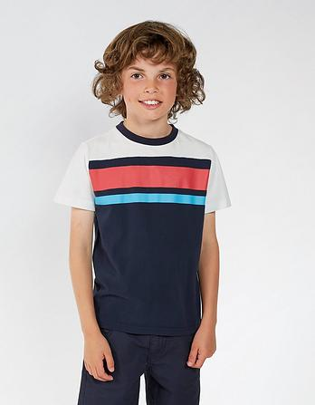 Cut And Sew Stripe T-Shirt