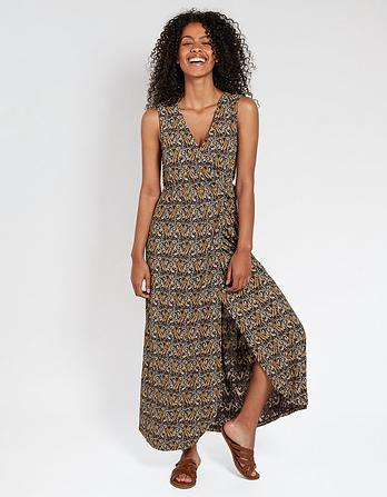 Grace Tiger Vine Wrap Maxi Dress