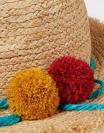 Bright Pompom Straw Hat