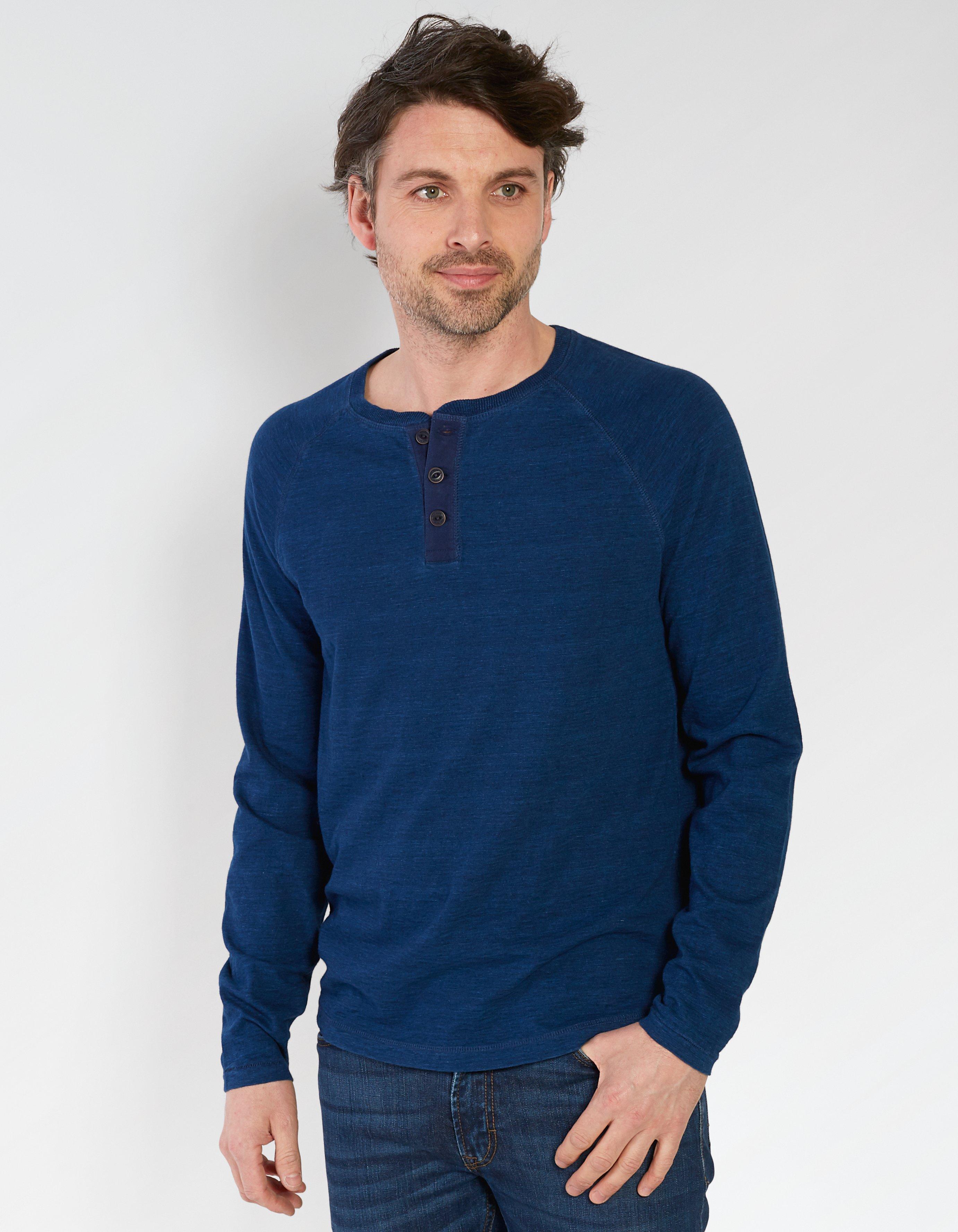 Indigo Henley T Shirt