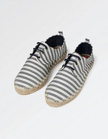 Stripe Lace Up Espadrilles