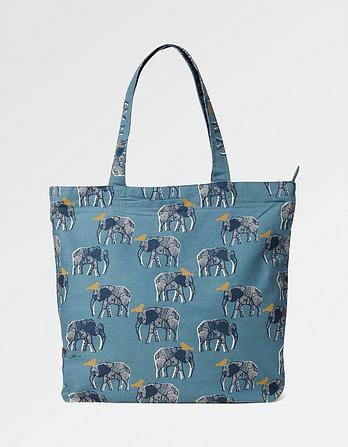 Elephant Cotton Shopper Bag