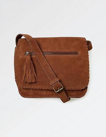 Whipstitch Suede Cross Body Bag