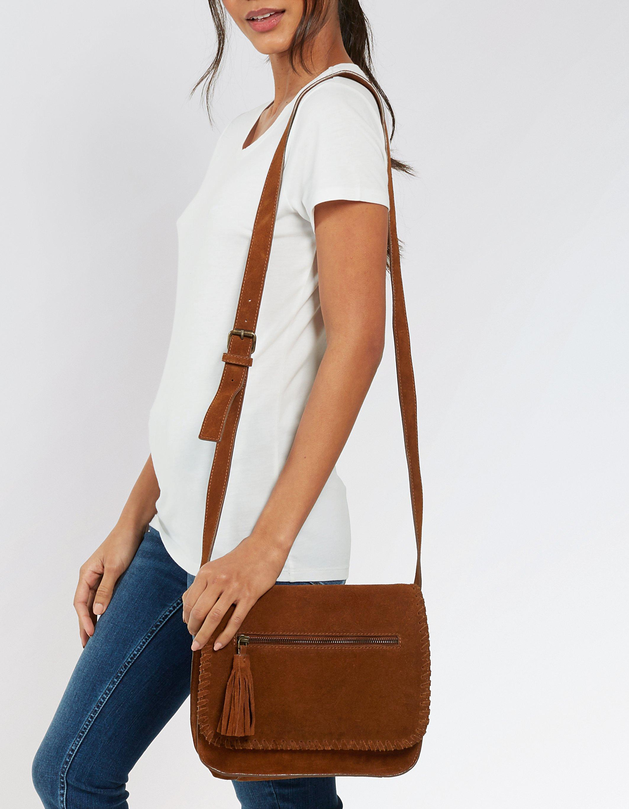 Whipstitch Suede Cross Body