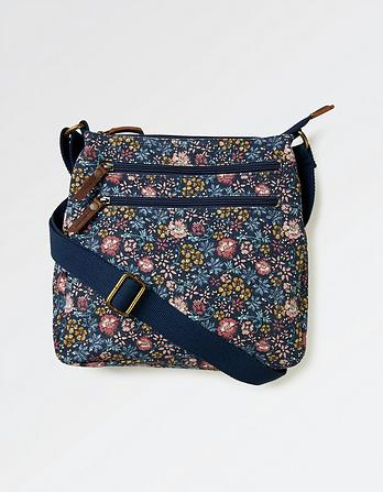 Batik Floral Canvas Cross Body Bag