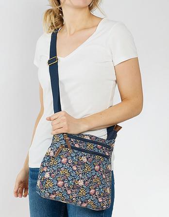 Batik Floral Canvas Cross Body Bag