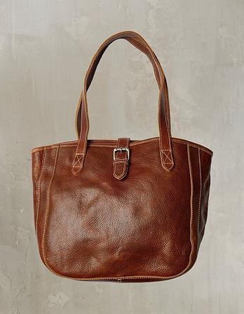 Small Buckle Leather Tote Bag