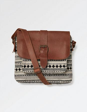 Woven and Leather Mix Cross Body Bag