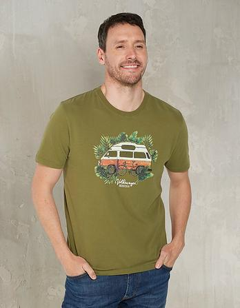 VW Camper Leaves Organic Cotton Graphic T-Shirt