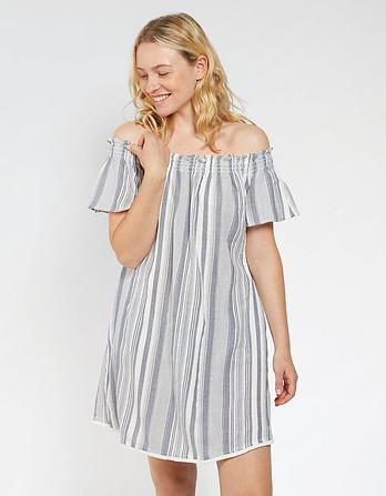 Rossbeigh Stripe Bardot Dress