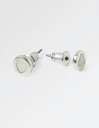 Mother Of Pearl Disc Stud Earrings