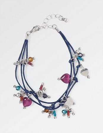 Three Cord Bead and Heart Bracelet