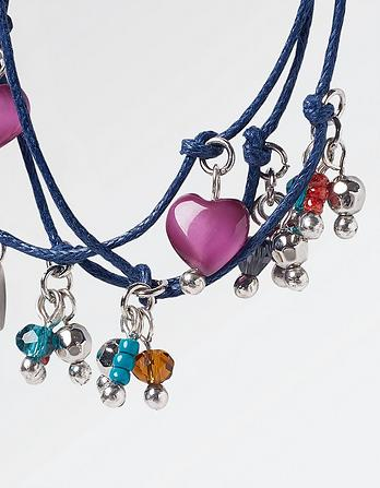 Three Cord Bead And Heart Bracelet