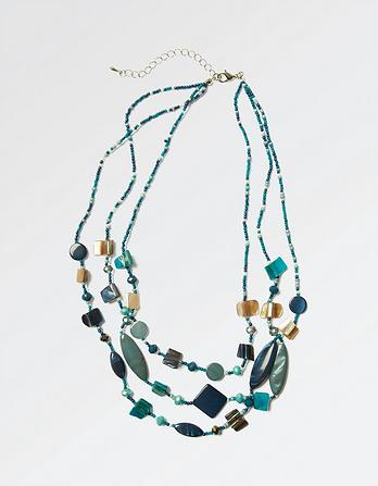 Multi Shaped Three Strand Necklace