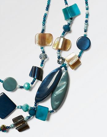 Multi Shaped Three Strand Necklace
