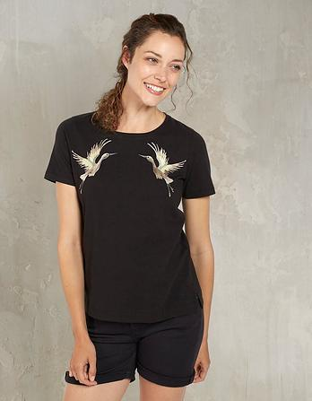 Embroidered Heron T-Shirt