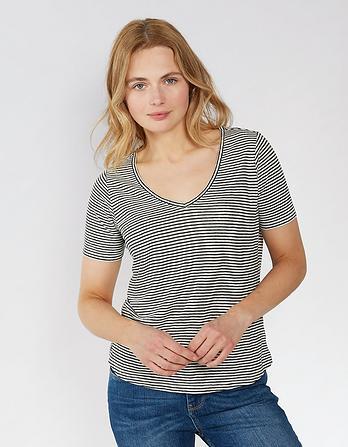 Layla Stripe Linen T-Shirt