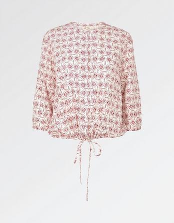 Ellie Daisy Diamond Tie Front Blouse