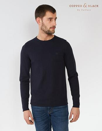 Cotton Cashmere Roll Edge Sweater