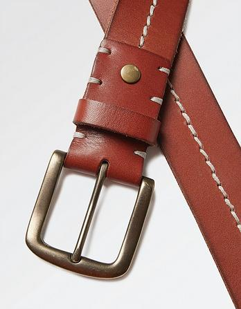 Stab Stitch Leather Belt
