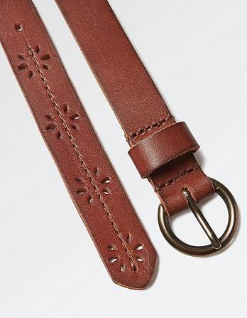 Flower Cut Out Leather Belt