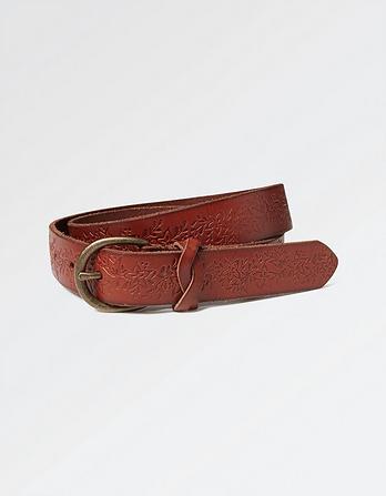 Flower Embossed Leather Belt
