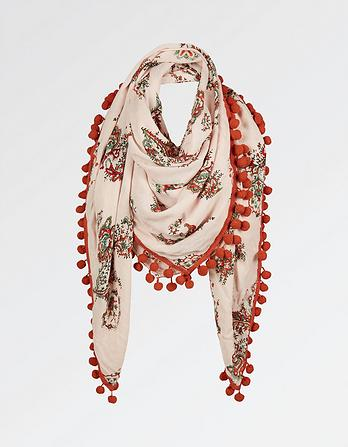 Coral Paisley Square Scarf