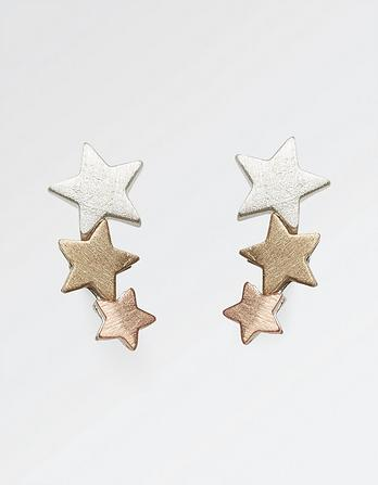 Three Row Star Stud Earrings