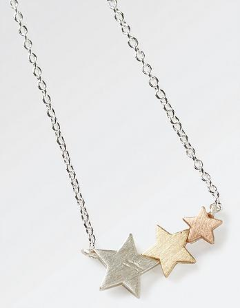 Three Row Star Necklace