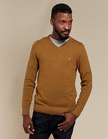 Cotton Cashmere V Neck Jumper