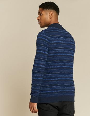 Cotton Cashmere Pattern Half Neck Sweater