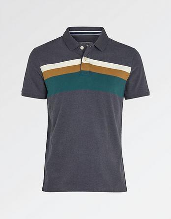 Cade Stripe Organic Cotton Polo