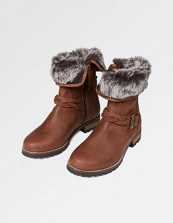 Fairford Faux Fur Lined Biker Boots