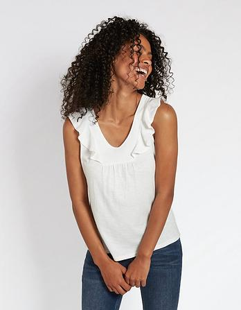 Top for Women On Sale, White, linen, 2017, 10 12 Fay