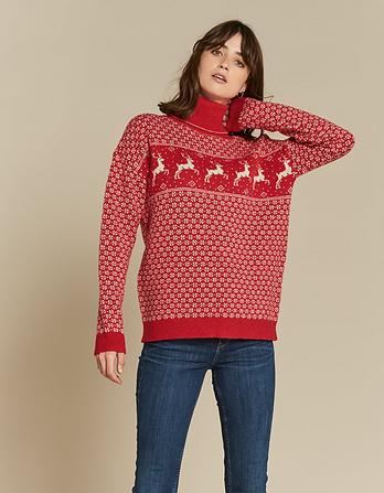Reindeer Roll Neck Christmas Sweater