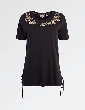 Floral Placement Embroidered T-Shirt