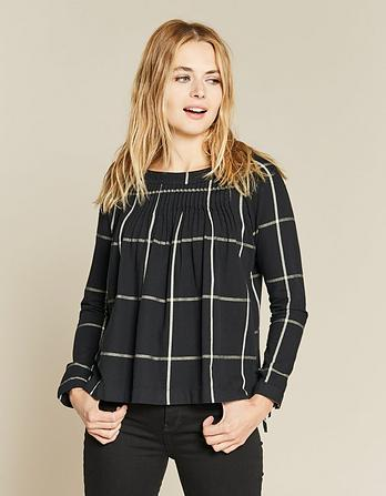 Rae Check Pleated Blouse