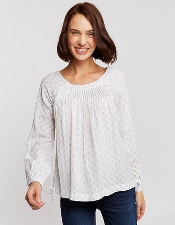 Rae Diamond Dot Pleated Blouse