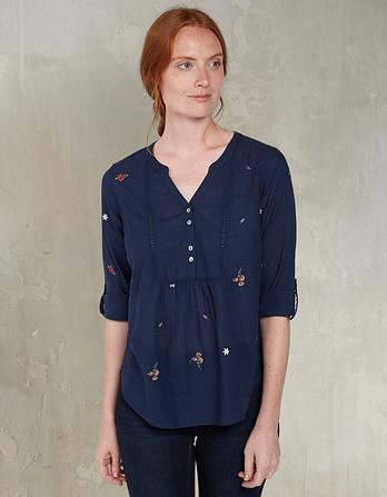 Organic Cotton Poppy Floral Embroidered Popover