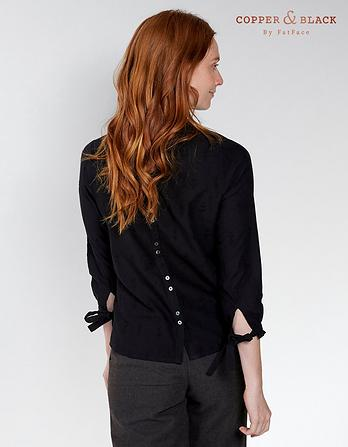 Broderie High Neck Blouse