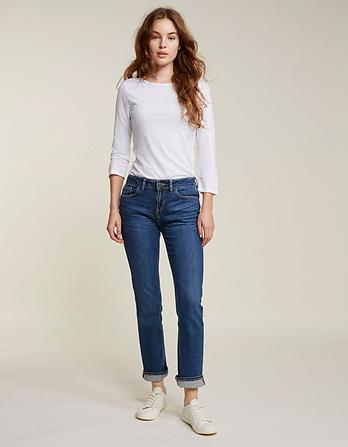 Mid Blue Slim Straight Jeans