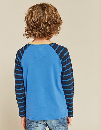 Stripe Sleeve Ringer Raglan T-Shirt