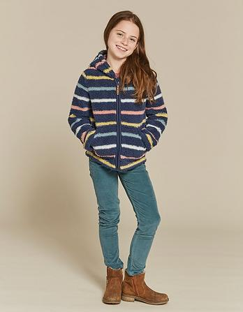 Stripe Zip Thru Fleece Hoody